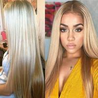 natürliche perücke für mädchen großhandel-Frauen Gerade Lange Perücke Haar Blonde Perücke Natürliche Synthetische Kostüm Party Cosplay Volle Perücken für Frauen Mädchen (Blond)