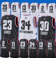 2019 All star Jerseys 34 Antetokounmpo Leonard Irving James 13 Harden Joel  21 Embiid Stephen 30 Curry Durant Jersey 97b633366