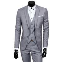 chalecos slim de lujo al por mayor-JacketPantVest Lujo Hombre Traje de Boda Masculino 3 Unidades Blazers Slim Fit Trajes Para Hombres Traje de Negocios Fiesta Formal Chaleco Conjuntos