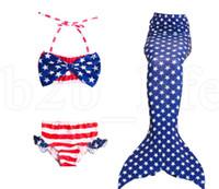 trajes de praia para crianças venda por atacado-Crianças Caudas de Sereia para Trajes De Natação Terno América Meninas Sereia Partido Biquíni Maiô Praia Swimmable Desgaste 3 pcs 1 conjunto LJJK1536