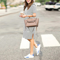 Wholesale shirt dresses for work resale online - Summer Striped Dress Plus Size Dresses For Women xl xl Womens Big Size Casual Work Office Wear Loose Short Sleeve Hoodies Y19051001