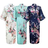 patrón sexy kimono al por mayor-Novia Mujeres Kimono Robe Sexy satén de seda Vestido de noche Boda novia Dama de honor Bata Mujeres Patrón floral Albornoz Ropa de dormir