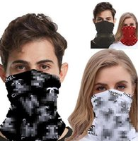 Wholesale women men outdoor sports cycling headband resale online - Popular Designer Letters Printing Half Face Masks Outdoor Cycling Bandanas Scarf Headband Sports Scarves Washable Protective Face Mask