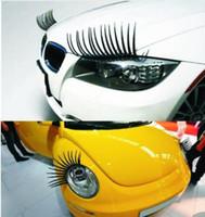 kirpik farları arabalar toptan satış-Araba Etiketler kirpik tasarımı Çıkartması Araç Far sticker Siyah Yanlış Eyelashes Göz Kirpik Sticker KKA6738 kapağı