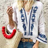 синие белые принты блузка оптовых-Feitong большой размер женщины блузка женщины V-образным вырезом Рог с длинными рукавами блузка синий и белый фарфор печати топ camisa feminina
