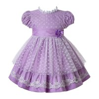 Wholesale girl shape flower for sale - Group buy Pettigirl Purple Kids Summer Clothes Girls Heart shaped Mesh Princess Dresses Designer Kids With Bow And Double Flowers G DMGD112 B481