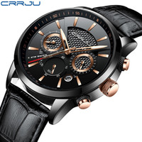 Wholesale military belt buckles for sale - Group buy reloj hombre CRRJU Fashion Watch Men Leather Belt Top Luxury Military Quartz Wristwatches Waterproof Outdoor Sports Watches