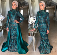 Wholesale gowns for sale - Group buy Mermaid Evening Dresses With Detachable Skirt High Neck Hunter Green Evening Gowns Long Sleeve Prom Dress vestidos de fiesta robe de soiree