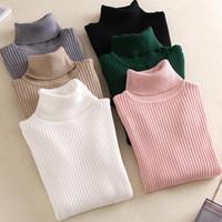 Wholesale on spring resale online - On sale spring Women Knitted Turtleneck Sweater Casual Soft neck Jumper Fashion Slim Femme Elasticity Pullovers