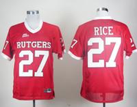 neue fußball-trikots großhandel-Factory Outlet- Kostenloser Versand !! 2012 neue Art # 27 Ray Rice Rutgers Scarlet Knights roter großer Ostflecken-Hochschulfußball Jersey