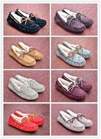 Wholesale pea bow shoes for sale - Group buy 2020 best designer boots shoes Australia Moccasin wool ladies winter warm high and low snow boots short bow boots classic flat peas shoes