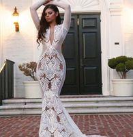 Wholesale kim kardashian wedding dresses resale online - 2020 Yousef aljasmi White Arabic Brides Wedding Dress Long sleeve V Neck Appliqued Mermaid White kim kardashian Bridal Gowns MW018