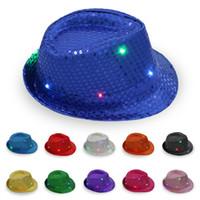 Wholesale skull cap printing resale online - adult led Jazz Hat Light Mens Ladies Sequin Light Up Led Fedora Caps Fancy Dress Dance Party Hats Hip Hop hat KKA7096