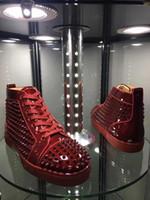 sonbahar kış gelinlikleri toptan satış-Sonbahar / Kış Şarap-kırmızı Rugan Yüksek top Sneakers Ayakkabı Spike Adı Marka Dantel-up Rahat Parti Elbise Düğün EU35-46