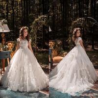çocuk balo gelinlik modelleri toptan satış-Örgün Durum Kelebek Çocuklar TUTU Çiçek Kız Elbise İlk Communion Parti Balo Prenses Elbisesi Nedime Düğün ile Tren