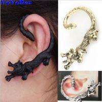 ingrosso orecchini del polsino animale-YoYoRan 1 pz lupo orecchio polsino dell'orecchino dell'orecchino per uomo donna gotico animale orecchino punk orecchio appendere gancio rock street ear polsino gioielli regalo