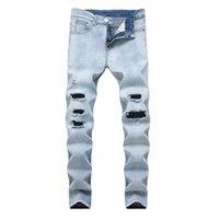 jeans de moda urbana venda por atacado-Mens Jeans Cor Leve Slim Fit Buraco High Street Motociclista Verão Moda Casual Calças De Brim Urbanas