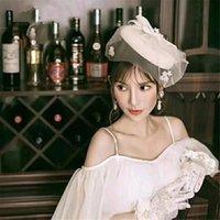 Wholesale mini hat hair accessories resale online - Flower Mesh Net Fascinators Hair Clip Mini Top Hats For Wedding Party Headwear Elegant Lady Wedding Accessories PfySl