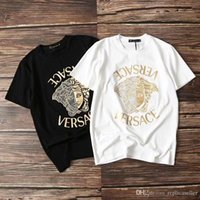 ingrosso disegni hot fix-19ss lussuoso Brand Design Vers Gold Medusa hot fix strass Tee Shirt Uomo Donna traspirante Moda Streetwear T-shirt outdoor
