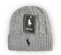 mavi kırmızı beanie toptan satış-Moda polo kış bere erkekler şapka gündelik örme spor kap ski gorro siyah gri mavi, kırmızı Örme Bonnet kalite yüksekliği Sıcak kafatası kapaklar