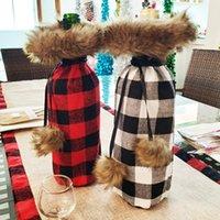 tapas de botellas de tela al por mayor-Tapa de botella de tela escocesa negra roja de Navidad Tapa de botella de champán de Navidad Paño rojo negro Vinos Botellas Manga Decoraciones navideñas
