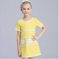 robes de fille de fleur de coton jaune achat en gros de-2018 New Big Girls Summer Dress Enfants Manches Courtes Broderie Princesse Robes Enfants Coton Jaune Fleur A-ligne Jupe Belle Fille Robe