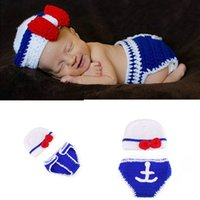 Wholesale crochet diaper hat set resale online - Newborn Photography Props Newborn Sailor Design Baby Crochet Hats Diaper Set baby photo props M