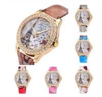 relógio de cristal da torre eiffel venda por atacado-Paris vintage torre eiffel torre de relógio de moda de cristal de couro de quartzo relógio de pulso bonito relógio mulher casual
