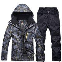 terno cinza trajes venda por atacado-Preto cinza Homem profissional Snowboard roupas roupas de esqui conjuntos de roupas à prova de vento à prova d 'água de inverno ao ar livre snow jackets + calças