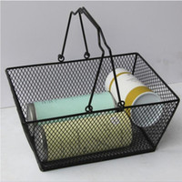 Wholesale wired baskets resale online - Metal Shopping Basket Iron Wire Mesh Shopping Food Fruits storage Basket Cosmetics Storage Baskets With Handle Outdoor products LXL741