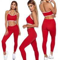 ingrosso vestiti di yoga-Donna Tuta Sportiva Gilet Tuta Sport Fitness Set Yoga In Esecuzione Abbigliamento Sportivo Leggings Tute Tute Allenamento Abbigliamento Sportivo GGA1631