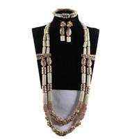 joyas de coral africano al por mayor-Increíble Collar Largo de Perlas de Coral Blanco Conjunto Traje de Coral Blanco Cuentas Africanas Conjunto de Joyas de Moda de Oro Granos de Coral CG067