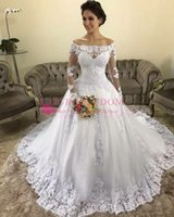 Wholesale white puffy dresses straps resale online - Elegant Off The Shoulder Long Sleeve Wedding Dresses Lace Appliques Puffy Sweep Train Corset Back Country Style Bridal Gown Hot Sale