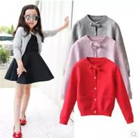 chaquetas de piel de conejo de punto al por mayor-Retail Girl Cardigan cruzado Bowknot Cardigan suéter de piel de conejo chaquetas para niños niñas abrigo outwear niños ropa boutique ropa