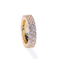 Wholesale gold filled ring settings resale online - James Men s Hip Hop Bling Bling Iced Out Tennis Rings Row MM Cubic Zircon Copper Rings Luxury Clastic Silver Gold Color Fashion Jewelry