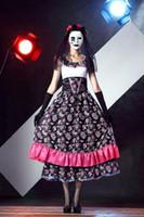brautkleid leistung großhandel-2016 neue Luxus-Frauen-reizvolle Skelett Muster Geisterbraut Satin-Kleid Exotic Halloween Masquerade Rollen Leistung Parates Cosplay