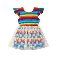 tul arcoiris al por mayor-6M-4Y Infant Toddler Kids Baby Girl Romper Ruffle Sin Mangas Arco Iris Tulle Floral Mono Tutu Vestido Chica Ropa Sunsuit