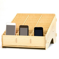 Wholesale cell phone storage boxes for sale - Group buy Wooden mobile phone management storage box creative desktop office meeting finishing grid multi cell phone rack shop display T200320