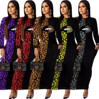 leopardo maxi vestidos de verano al por mayor-Mujeres Leopard Lip Maxi Vestidos Manga larga Cuello redondo Patchwork de manga larga Vestido de lápiz de moda Otoño Verano Camisa sexy nueva LJJA2974