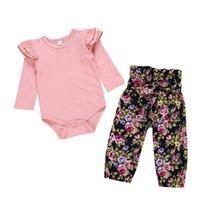 düz renk çocuk giyim toptan satış-Çocuklar Tasarımcı Giyim Kız Bebek Kız Tasarımcı Giyim Coats erkek Düz renk uzun çiçek baskı pantolon iki parçalı set manşon