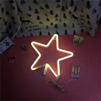led yıldızlı şekilli ışıklar toptan satış-Mektuplar Yıldız Şekli Plastik Işık Pille Çalışan LED Evrak Tabelası