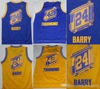 gelbe blaue basketball uniformen großhandel-NCAA Goldene 1 Zustand Rick 24 Barry Jersey War Team-Farbe Blau Gelb 42 Nate Thurmond Hemd Uniform für Sport-Fans A1