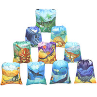 Wholesale backpack popular resale online - Child Dinosaur Drawstring Backpack Polyester Fiber Comic Bundle Pocket Popular Knapsack Hot Selling With Various Pattern lm J1