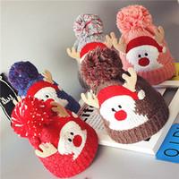 Wholesale deer hat antlers resale online - Christmas Child Knitting Hat Pom Beanie Kids Adult Deer Antler Xmas Crochet Knitted Ball Cap Party Gifts RRA2376