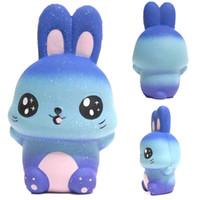 синий зайчик оптовых-Синий Кролик Squishy Kawaii Galaxy Bunny Slow Squishies Телефон Ремешок R A DHL Бесплатная доставка SQU073
