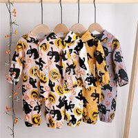 Wholesale newborn baby boy bodysuits resale online - INS Baby Boys Girls Rompers Hoodies Organic Coton Halloween Jumpsuits Long Sleeve Front Buttons Autumn Fall Newborn Onesies Bodysuits T