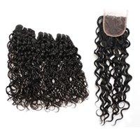 dalgalı saç uzatma atkıları toptan satış-Brezilyalı Su Dalgası Bakire Saç Atkı Kapatma Ile 3 Demetleri Dalgalı Remy Virgin İnsan Saç Uzantıları 8-28 Inç Siyah 8a Manikür Hizalanmış