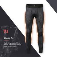 erkekler sıkı egzersiz giysileri toptan satış-Elastik Spor Egzersiz Eğitimi Pantolon Spor Giyim Spor Sıkı vücut geliştirme pantolon Erkek Tozluklar için Pantolon Running 2019 Erkekler