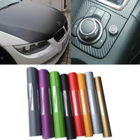 filme automóvel carbono venda por atacado-Fibra de carbono Do Carro 3D etiqueta Auto Folha de Enrole Rolo Film Sticker Foil Decalque Acessórios de Estilo de Carro Automóveis ornamento LJJQ196