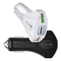 Wholesale type c car charger online - 3 Port Quick charging Car charger A W Type c Hammer Safety QC3 Fast Charging Car chargers for iphone x samsung pc mp3 android phone
